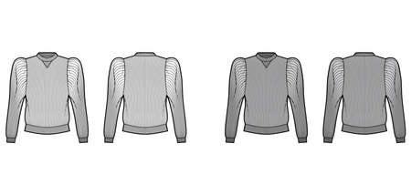 Ribbed cotton-jersey sweatshirt technical fashion illustration with gathered, puffy long sleeves, relaxed fit. Flat jumper apparel template front, back, white grey color. Women men unisex top knit CAD