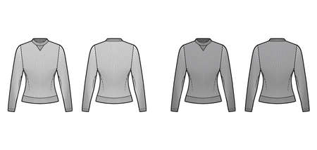 Ribbed cotton-jersey sweatshirt technical fashion illustration with long sleeves, fitted body, crew neck. Flat jumper apparel template front back white grey color. Women men unisex top knit CAD mockup Vector Illustratie