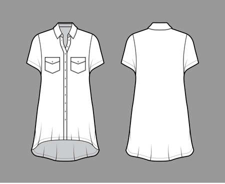 Oversized shirt dress technical fashion illustration with angled pockets, short sleeves, regular collar, high-low hem front button-fastening. Flat template front back white color. Women men unisex top Vettoriali