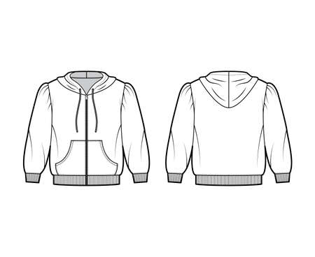 Zip-up cropped cotton-jersey hoodie technical fashion illustration with puffed shoulders, elbow sleeves, front pocket. Flat jumper template front back white color. Women men unisex sweatshirt top