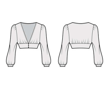 Cropped top technical fashion illustration with long bishop sleeves, puffed shoulders, front button fastenings. Flat apparel shirt template front back, grey color. Women men, unisex blouse CAD mockup Vector Illustration