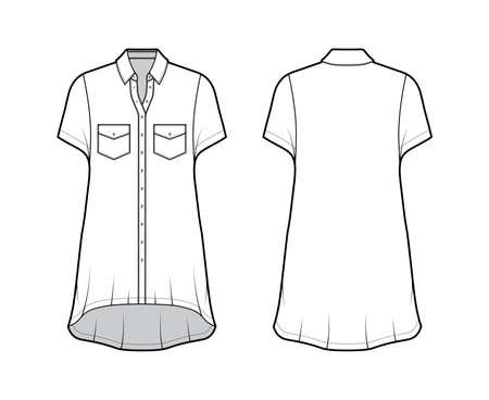 Oversized shirt dress technical fashion illustration with angled pockets, short sleeves, regular collar, high-low hem front button-fastening. Flat template front back white color. Women men unisex top