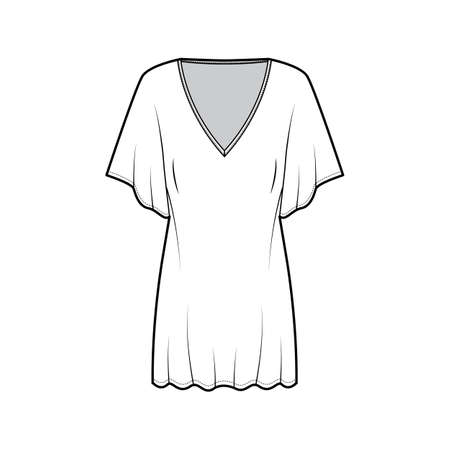 Kaftan dress technical fashion illustration with deep V-neck, batwing elbow sleeves, above-the-knee length, oversized. Flat apparel template front white color. Women men unisex top CAD mockup