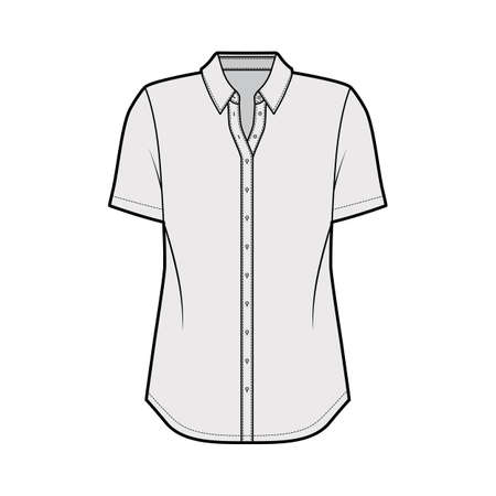 Classic shirt technical fashion illustration with short sleeves, relax fit, front button-fastening, regular collar. Flat apparel template front, grey color. Women men unisex top CAD mockup