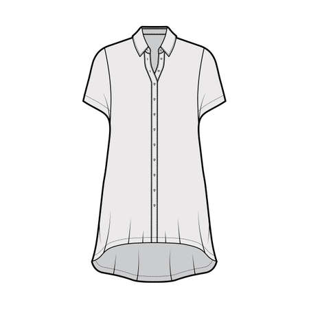 Oversized shirt dress technical fashion illustration with short sleeves, regular collar, high-low hem, front button-fastening. Flat template front grey color. Women men unisex top CAD mockup