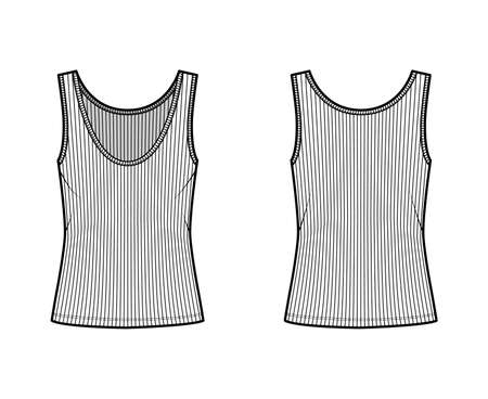 Ribbed open-knit tank technical fashion illustration with oversized body, deep scoop neck, elongated hem. Flat outwear top apparel template front, back, white color. Women, men unisex shirt CAD mockup