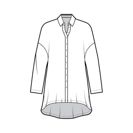 Oversized shirt dress technical fashion illustration with long sleeves, regular collar, dropped shoulders, high-low hem, front button-fastening. Flat template front white color. Women men unisex top