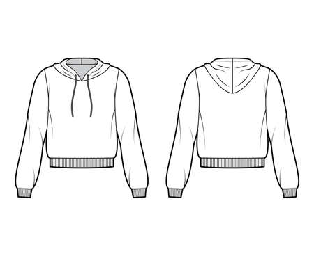 Cotton-fleece hoodie technical fashion illustration with relaxed fit, long sleeves, ribbed trims. Flat jumper apparel template front, back, white color. Women, men, unisex sweatshirt top CAD mockup