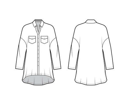 Oversized shirt dress technical fashion illustration with angled pockets, long sleeves, regular collar, dropped shoulders, high-low hem. Flat apparel template front back white color. Women men top Vettoriali