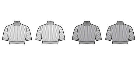 Cropped turtleneck ribbed-knit sweater technical fashion illustration with short sleeves, close-fitting shape. Flat jumper apparel template front back white grey color. Women men unisex shirt top CAD