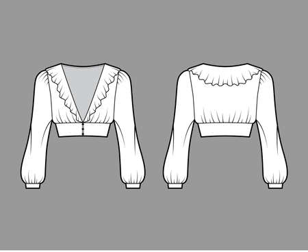 Ruffled cropped blouse technical fashion illustration with long bishop sleeves, puffed shoulders, front button fastenings. Flat apparel top template front, back white color. Women men unisex shirt CAD