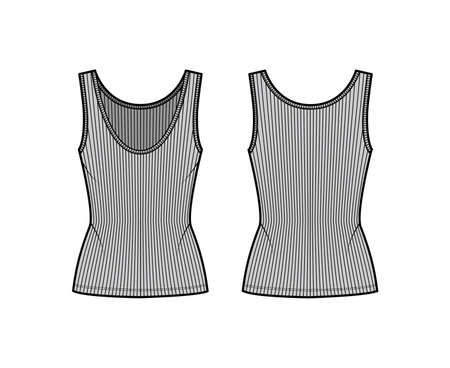 Ribbed open-knit tank technical fashion illustration with fitted body, deep scoop neck, elongated hem. Flat outwear top apparel template front, back grey color. Women, men unisex shirt CAD mockup