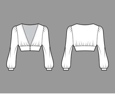 Cropped top technical fashion illustration with long bishop sleeves, puffed shoulders, front button fastenings. Flat apparel shirt template front back white color. Women men, unisex blouse CAD mockup