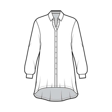 Oversized shirt dress technical fashion illustration with long sleeves, regular collar, high-low hem, front button-fastening. Flat template front white color. Women men unisex top CAD mockup