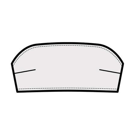 Bustier tube bandeau top technical fashion illustration with back hook fastenings, cropped length . Flat bra swimwear lingerie apparel template front grey color. Women men unisex underwear CAD mockup