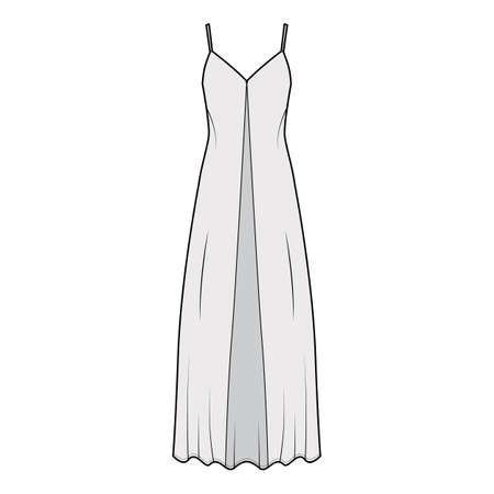 Camisole technical fashion illustration with deep V-neck, front button fastening, maxi ancle length, loose shape. Flat apparel template front, grey color. Women, men, unisex top CAD mockup Illustration