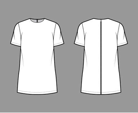Cady tunic technical fashion illustration with crew neckline, short sleeves, oversized, back zip fastening, elongated hem. Flat apparel shirt template front back white color. Women men top CAD mockup 矢量图像