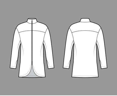 Zip-up shirt technical fashion illustration with relaxed fit, high neckline, back round yoke, front, long sleeves. Flat blazer apparel template front, back white color. Women men unisex top CAD mockup Иллюстрация