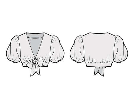 Tie-front cropped shirt technical fashion illustration with voluminous short puff sleeves, plunging neckline. Flat blouse apparel template front, back, grey color. Women, men, unisex top CAD mockup. Vector Illustration