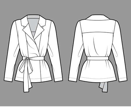 Belted double-breasted wrap shirt technical fashion illustration with relaxed fit pointed notch collar, long sleeves. Flat apparel template front back white color. Women men unisex blazer CAD mockup Vetores