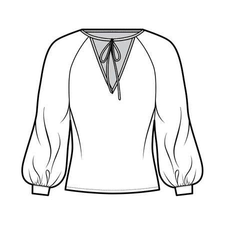Tie-detailed neckline blouse technical fashion illustration with long raglan bishop sleeves, oversized, elongated hem. Flat apparel shirt template front white color. Women men, unisex top CAD mockup