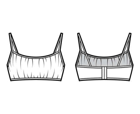 Cropped gathered at the front Bra top technical fashion illustration with back hook fastenings, shoulder straps. Flat swimwear lingerie template back, white color. Women, men, unisex underwear CAD