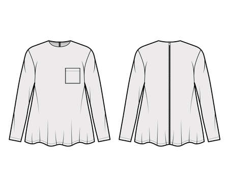 Boyfriend shirt technical fashion illustration with square pocket, crew neck, long sleeves, oversized, flare hem, back zip fastening. Flat template front back grey color. Women unisex top CAD mockup