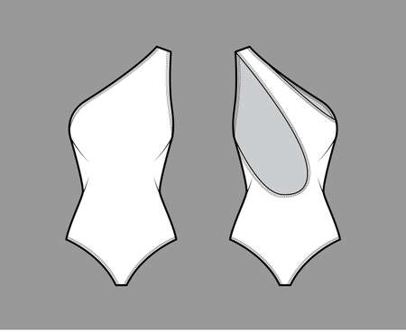 One-shoulder stretch bodysuit technical fashion illustration with open scooped back, medium brief coverage. Flat one-piece apparel template front, white color. Women men unisex swimsuit CAD mockup Ilustración de vector