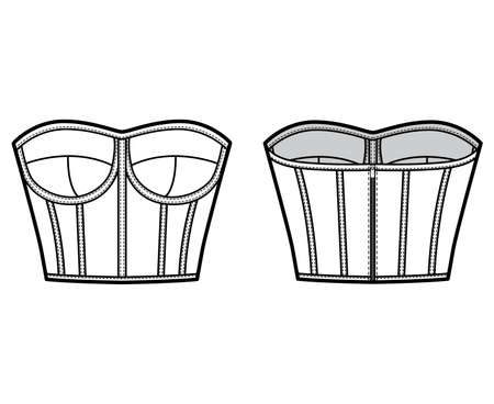 Corset-style bustier top technical fashion illustration with molded cups, close fit, back zip fastening, cropped length. Flat apparel template front back white color. Women men unisex shirt CAD mockup
