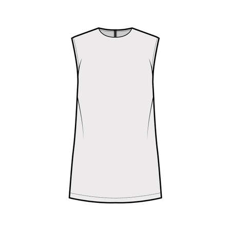 Cady tunic technical fashion illustration with crew neckline, sleeveless, oversized, back zip fastening, elongated hem. Flat apparel shirt template front grey color. Women men, unisex top CAD mockup 矢量图像