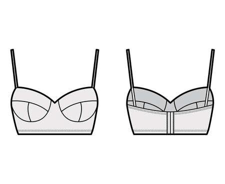 Bustier top technical fashion illustration with cropped length, molded cups, spaghetti straps. Flat bra swimwear lingerie template front, back, grey color. Women, men, unisex underwear CAD mockup. Illusztráció