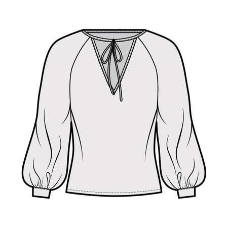 Tie-detailed neckline blouse technical fashion illustration with long raglan bishop sleeves, oversized, elongated hem. Flat apparel shirt template front grey color. Women men, unisex top CAD mockup