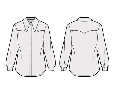 Western-inspired shirt technical fashion illustration with long sleeves with cuff, front button-fastening exaggerated point collar. Flat template front back grey color. Women men unisex top CAD mockup