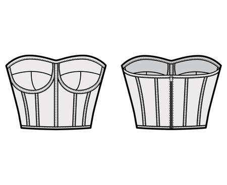 Corset-style bustier top technical fashion illustration with molded cups, close fit, back zip fastening, cropped length. Flat apparel template front, back grey color. Women men unisex shirt CAD mockup