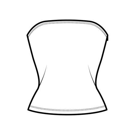 Tube top technical fashion illustration with side zip fastening, fitted body, round neckline. Flat bra swimwear lingerie apparel template front white color. Women men unisex underwear CAD mockup