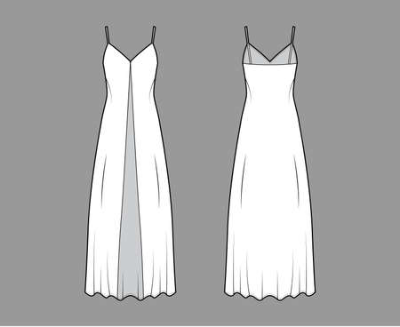 Camisole technical fashion illustration with deep V-neck, front button fastening, maxi ancle length, loose shape. Flat apparel template front, back, white color. Women, men, unisex top CAD mockup Illustration