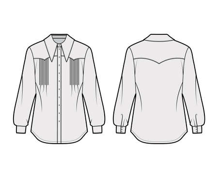 Western-inspired pintucked shirt technical fashion illustration with long sleeves, front button-fastening, exaggerated point collar. Flat template front back, grey color. Women unisex top CAD mockup