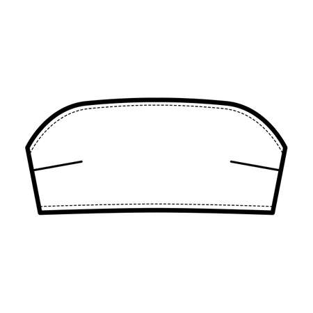 Bustier tube bandeau top technical fashion illustration with back hook fastenings, cropped length . Flat bra swimwear lingerie apparel template front white color. Women men unisex underwear CAD mockup Vettoriali