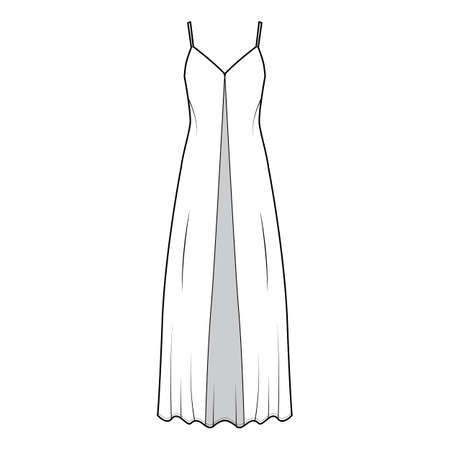 Camisole technical fashion illustration with deep V-neck, front button fastening, maxi ancle length, loose shape. Flat apparel template front, white color. Women, men, unisex top CAD mockup