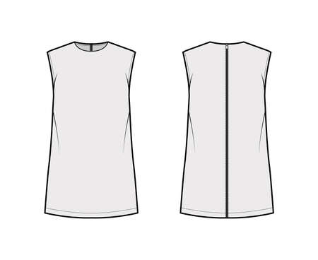 Cady tunic technical fashion illustration with crew neckline, sleeveless, oversized, back zip fastening, elongated hem. Flat apparel shirt template front back grey color. Women, unisex top CAD mockup