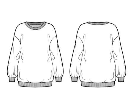 Cotton-terry slouchy oversized sweatshirt technical fashion illustration with loose relaxed fit, crew neckline, long sleeves. Flat jumper template front, back white color. Women, men, unisex top CAD