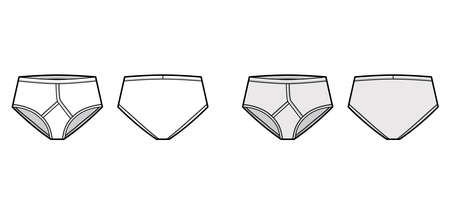 Y-front Brief underwear technical fashion illustration with elastic waistband, vertical fly. Flat trunks Underpants lingerie template front, back, white grey color. Women men unisex Jockeys CAD mockup Vecteurs