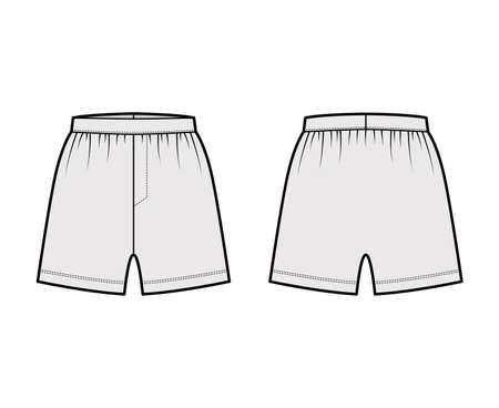 Boxer shorts underwear technical fashion illustration with loose silhouette, elastic band. Flat trunks Underpants lingerie template front, back, grey color. Women men unisex Kacchera CAD mockup