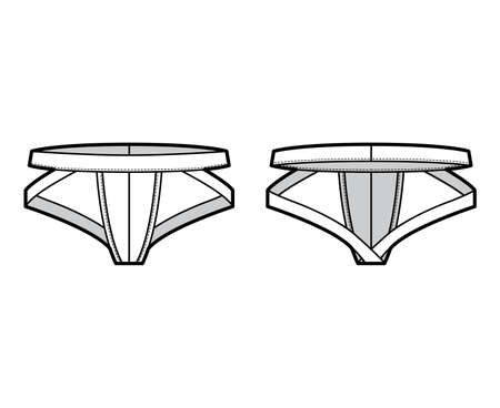 Jockstrap underwear technical fashion illustration with elastic waistband, athletic supporter. Flat thong Underpants lingerie template front, back, white color. Women men unisex swimsuit CAD mockup