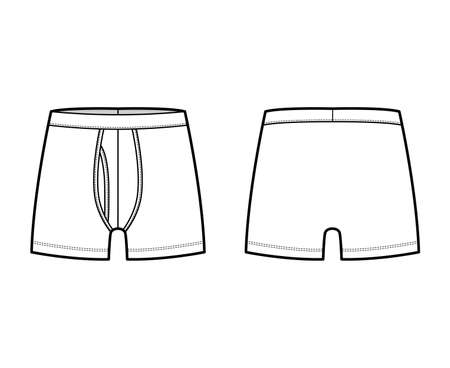 Boxer briefs underwear technical fashion illustration with elastic waistband, Athletic-style skin-tight. Flat trunks Underpants lingerie template front back white color. Women men unisex CAD mockup