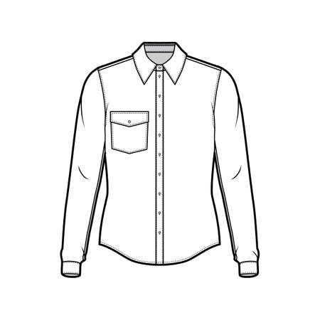 Classic shirt technical fashion illustration with long sleeve with cuff, front button-fastening, angled flap pocket, back rounded yoke. Flat template front white color. Women men unisex top CAD mockup