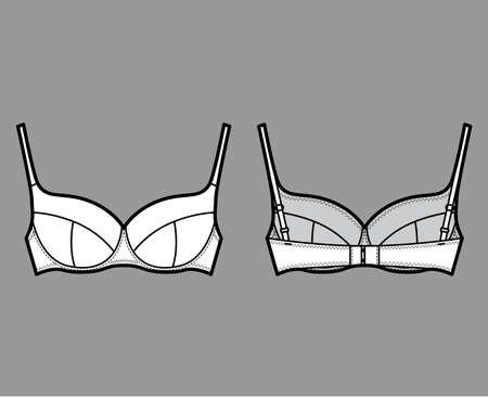 Bra lingerie technical fashion illustration with full adjustable shoulder straps, molded cups, hook-and-eye closure. Flat brassiere front, back white color style. Women men unisex underwear CAD mockup