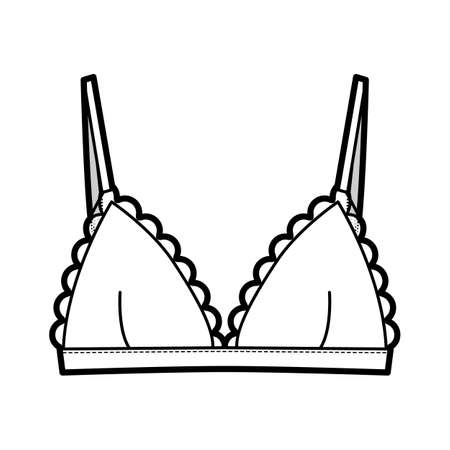 Triangle Bra lingerie technical fashion illustration with adjustable strap, hook-and-eye closure, scalloped cups. Flat brassiere template front white color style. Women men unisex underwear CAD mockup