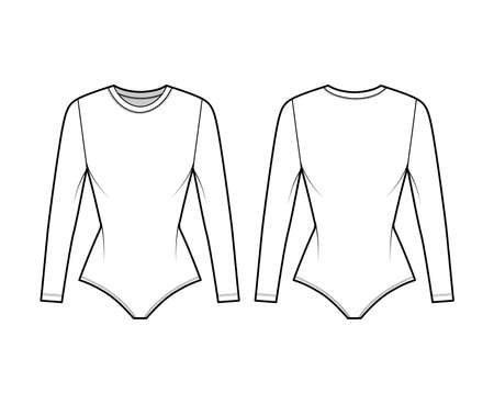 Stretch-jersey bodysuit technical fashion illustration with crew neck, long sleeves, fitted body. Flat one-piece underwear apparel template front back white color. Women men unisex swimsuit CAD mockup