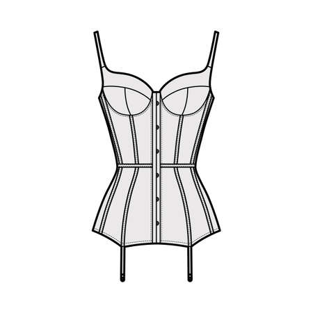Corselette bustier Marry Widow lingerie technical fashion illustration with molded cup, back laced, attached garters. Flat brassiere template front white color style. Women unisex underwear CAD mockup